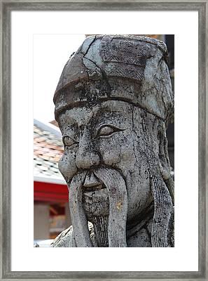Chinese Statue Guards - Wat Pho - Bangkok Thailand - 01136 Framed Print