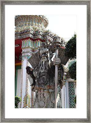 Chinese Statue Guards - Wat Pho - Bangkok Thailand - 01137 Framed Print by DC Photographer