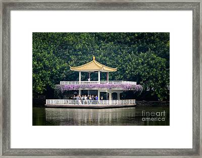 Chinese Style Pavillion In A Peaceful Park.  Framed Print