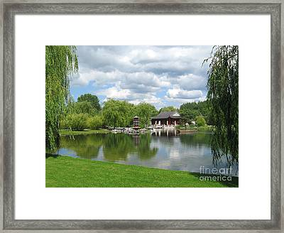 Chinese Tea Pavilion Near The Lake Framed Print by Kiril Stanchev