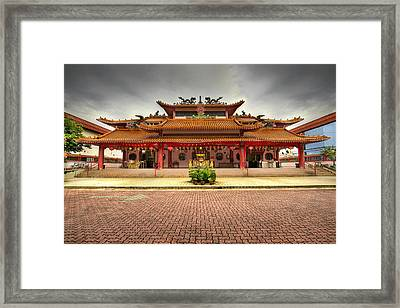 Chinese Temple Paved Square Framed Print by David Gn