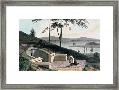 Chinese Tomb With Two Mourners Framed Print by Thomas & William Daniell
