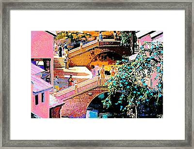 Chinese Village Bridges Framed Print