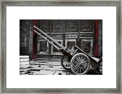 Framed Print featuring the photograph Chinese Wagon In Black And White Xi'an China by Sally Ross