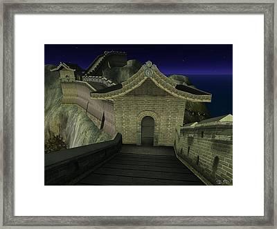 Framed Print featuring the digital art Chinese Wall by Susanne Baumann