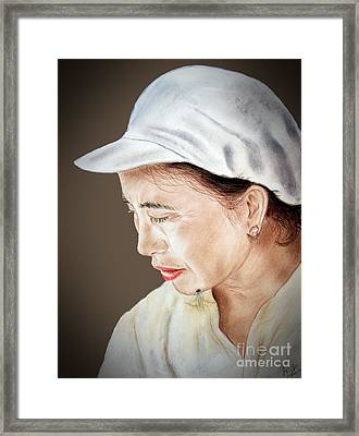 Chinese Woman With A Hairy Facial Mole II Framed Print by Jim Fitzpatrick