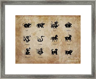 Chinese Zodiac Framed Print by Delphimages Photo Creations