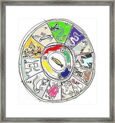 Framed Print featuring the drawing Chinese Zodiac by Leslie Byrne