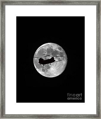 Chinook Moon B And W Vertical Framed Print