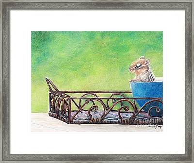 Chipmunk In Blue Bowl Framed Print by Charlotte Yealey