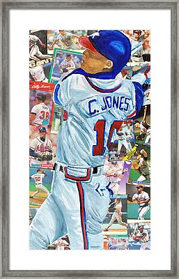 Chipper Jones 14 Framed Print by Michael Lee