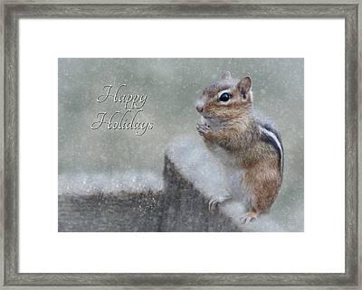 Chippy Christmas Card Framed Print by Lori Deiter