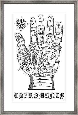 Chiromancy Chart Of Middle Ages Framed Print by Daniel Hagerman
