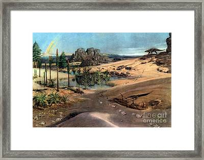 Chirotherium In Lower Triassic Landscape Framed Print by Science Source