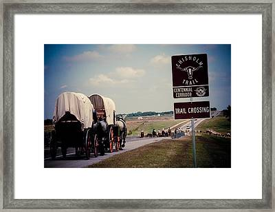 Chisholm Trail Centennial Cattle Drive Framed Print by Toni Hopper