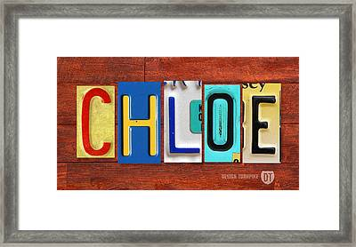 Chloe License Plate Name Sign Fun Kid Room Decor Framed Print by Design Turnpike