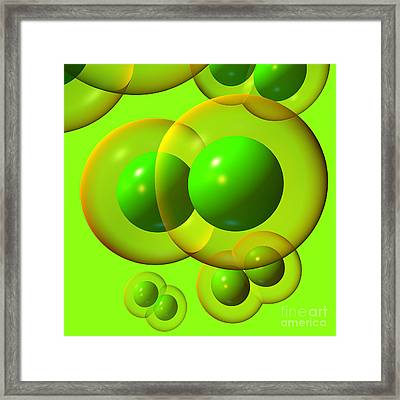 Chlorine Molecule 1 Green Framed Print by Russell Kightley