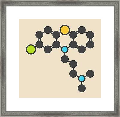 Chlorpromazine Antipsychotic Molecule Framed Print by Molekuul