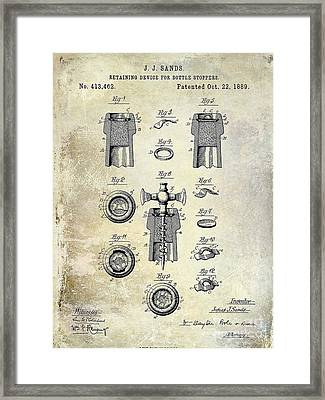 Champagne Retaining Device Patent Drawing 1889 Framed Print by Jon Neidert