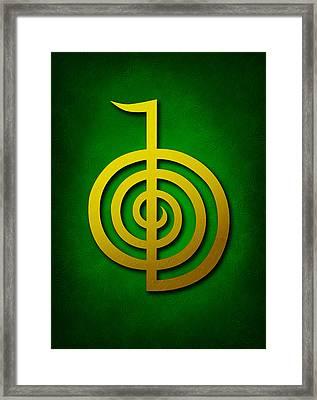 Cho Ku Rei - Golden Yellow On Green Reiki Usui Symbol Framed Print by Cristina-Velina Ion