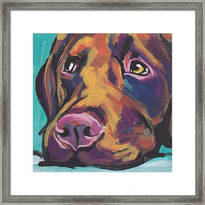 Choco Lab Love Framed Print by Lea S