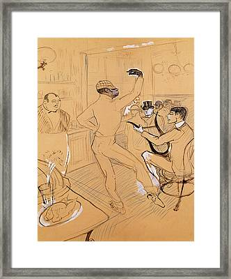 Chocolat Dancing, 1896 Pen & Ink And Coloured Pencil On Paper Framed Print by Henri de Toulouse-Lautrec