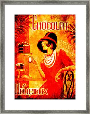 Chocolat Delicieux Red Framed Print