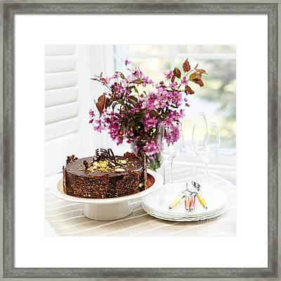 Chocolate Cake With Flowers Framed Print by Elena Elisseeva