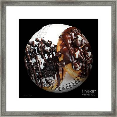 Chocolate Donuts Baseball Square Framed Print by Andee Design