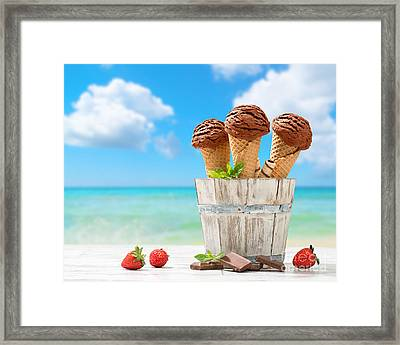 Chocolate Icecreams Framed Print by Amanda Elwell