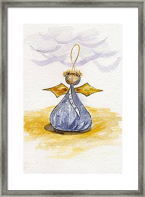 Chocolate Kissing Angel Framed Print by Julie Maas