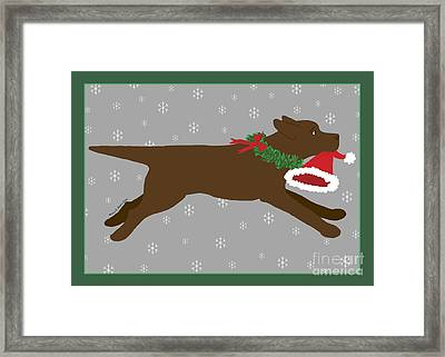 Chocolate Labrador Steals Santa's Hat Framed Print by Amy Reges