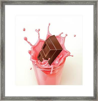 Chocolate Splashing Into A Drink Framed Print by Leonello Calvetti