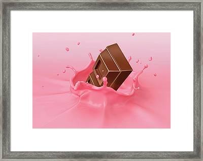 Chocolate Splashing Into Milkshake Framed Print by Leonello Calvetti
