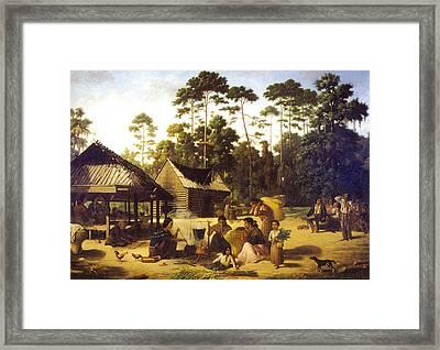 Choctaw Village Framed Print by George Catlin
