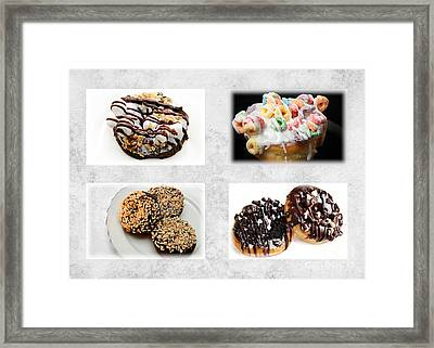 Choice Of Donuts 4 X 4 Collage 1 - Bakery - Sweets Shoppe Framed Print by Andee Design
