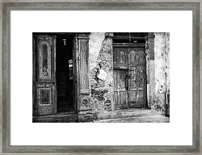 Choices In Panama City Mono Framed Print