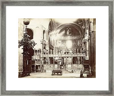 Choir, Byzantine Cross, Altar And Altar Of The Basilica Framed Print by Artokoloro