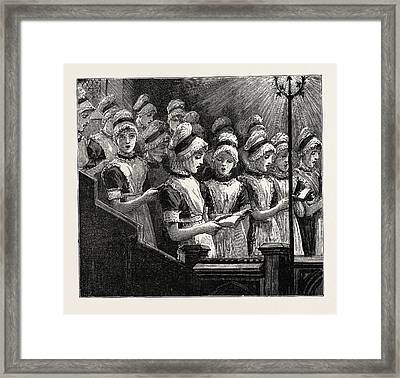 Choir Of The French Church Of The Savoy Framed Print by English School