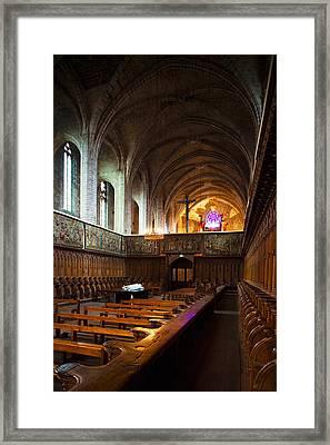Choir Stalls At Abbatiale Saint-robert Framed Print