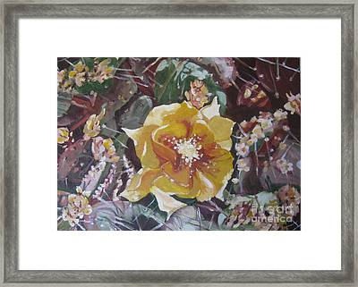 Framed Print featuring the painting Cholla Flowers by Julie Todd-Cundiff