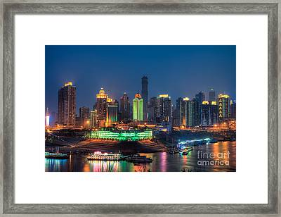 Chongqing City Skyline Framed Print by Fototrav Print