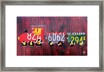 Choo Choo Train License Plate Art Framed Print by Design Turnpike