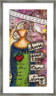 Choose Your Own Story Inspirational Mixed Media Folk Art  Framed Print