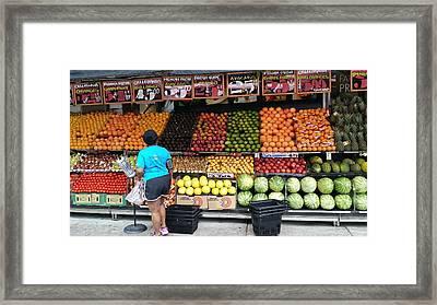 Choosy Fruit Pondering Framed Print
