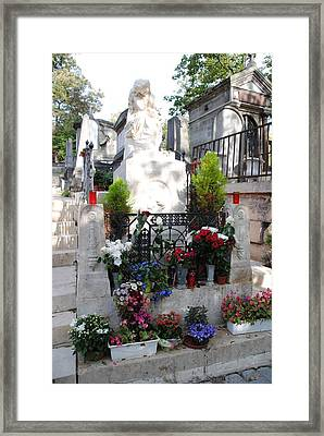 Chopin's Gravesite At Pere Lachaise Cemetery Framed Print by Jacqueline M Lewis