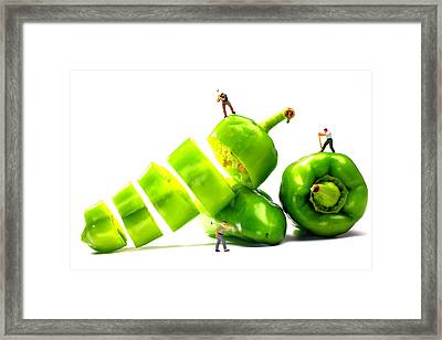 Chopping Green Peppers Little People Big Worlds Framed Print by Paul Ge