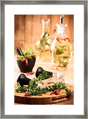 Chopping Herbs Framed Print by Amanda Elwell