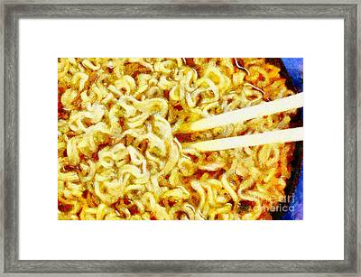 Chopsticks In Noodle Broth Painting Framed Print