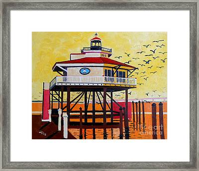 Choptank River Lighthouse Framed Print by Lesley Giles